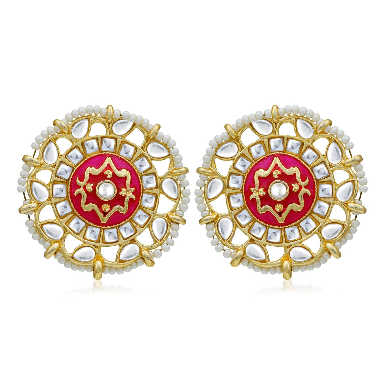 SUKKHI   Sukkhi Fabulous Pearl Gold Plated Kundan Meenakari Stud Earring For Women