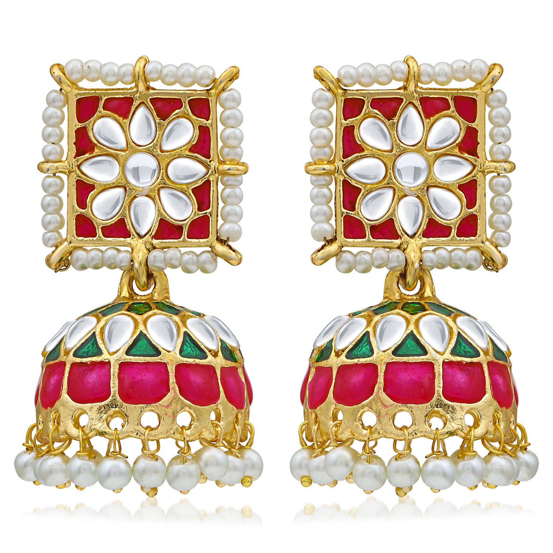 SUKKHI | Sukkhi Ethnic Pearl Gold Plated Kundan Meenakari Jhumki Earring For Women