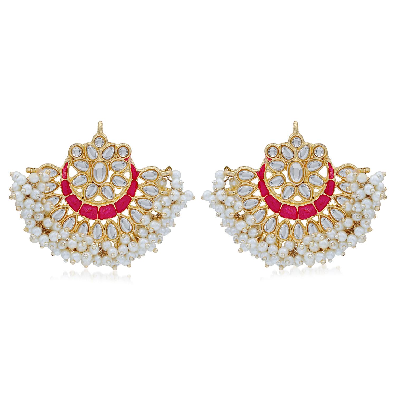 SUKKHI   Sukkhi Splendid Pearl Gold Plated Kundan Meenakari Chandbali Earring for Women