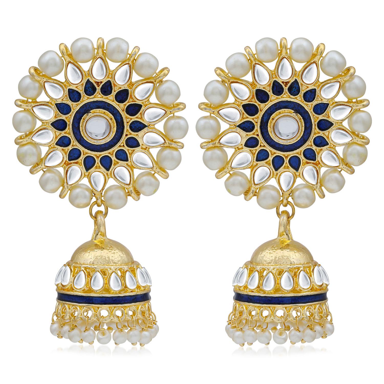 SUKKHI | Sukkhi Fabulous Kundan Gold Plated Pearl Meenakari Jhumki Earring for Women