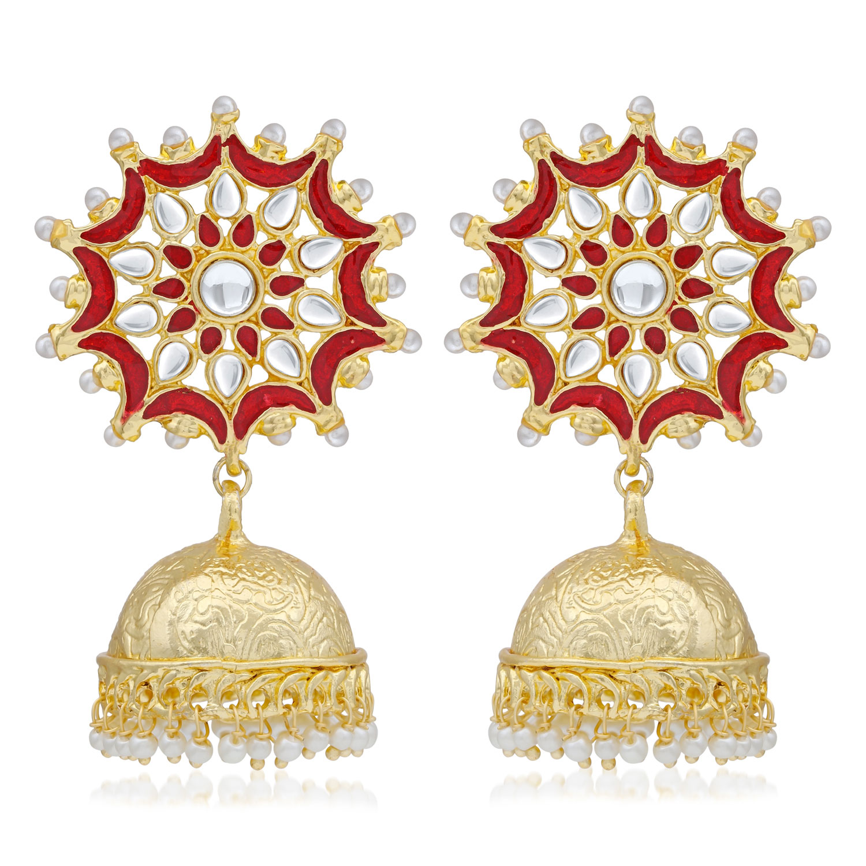 SUKKHI | Sukkhi Graceful Kundan Gold Plated Pearl Meenakari Jhumki Earring for Women