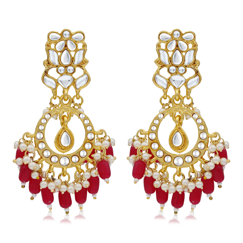 SUKKHI | Sukkhi Designer Kundan Gold Plated Pearl Chandelier Earring for Women