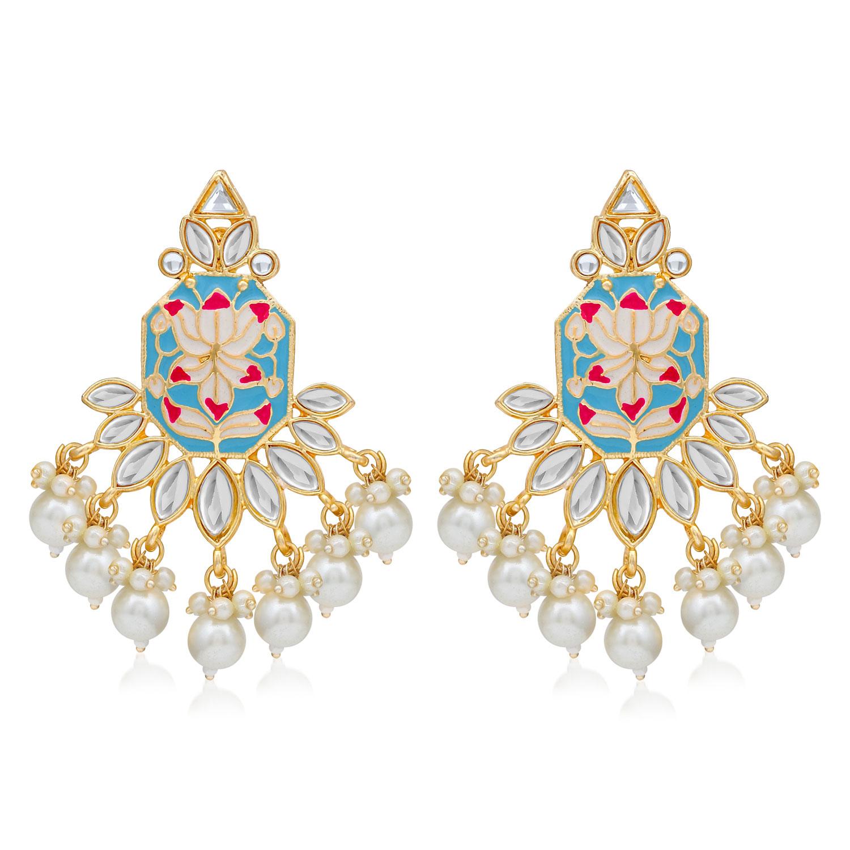 SUKKHI   Sukkhi Glimmery Pearl Gold Plated Lotus Meenakari Dangle Earring For Women