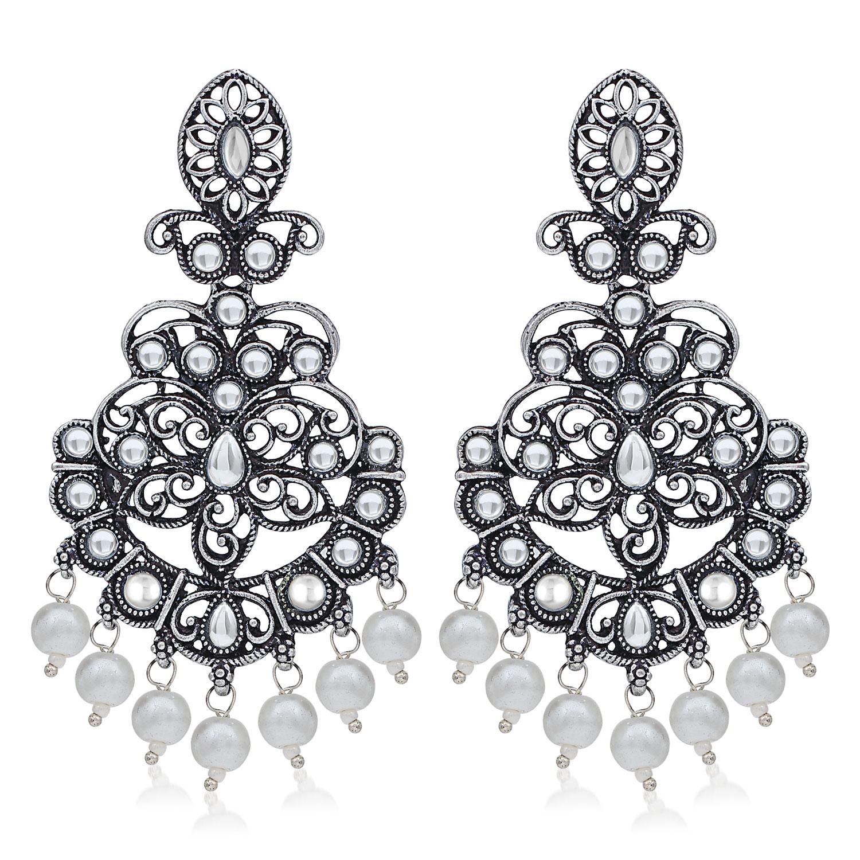SUKKHI   Sukkhi Exotic Oxidised Pearl Chandelier Earring For Women