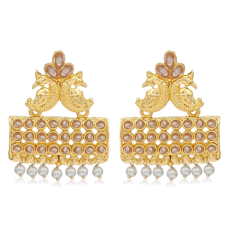 SUKKHI | Sukkhi Glimmery Pearl Gold Plated Peacock Dangle Earring For Women