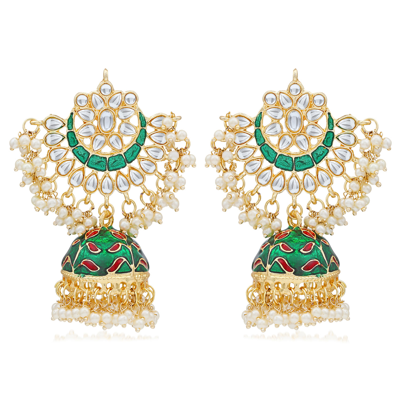 SUKKHI | Sukkhi Exclusive Pearl Gold Plated Kundan Meenakari Jhumki Earring Form Women