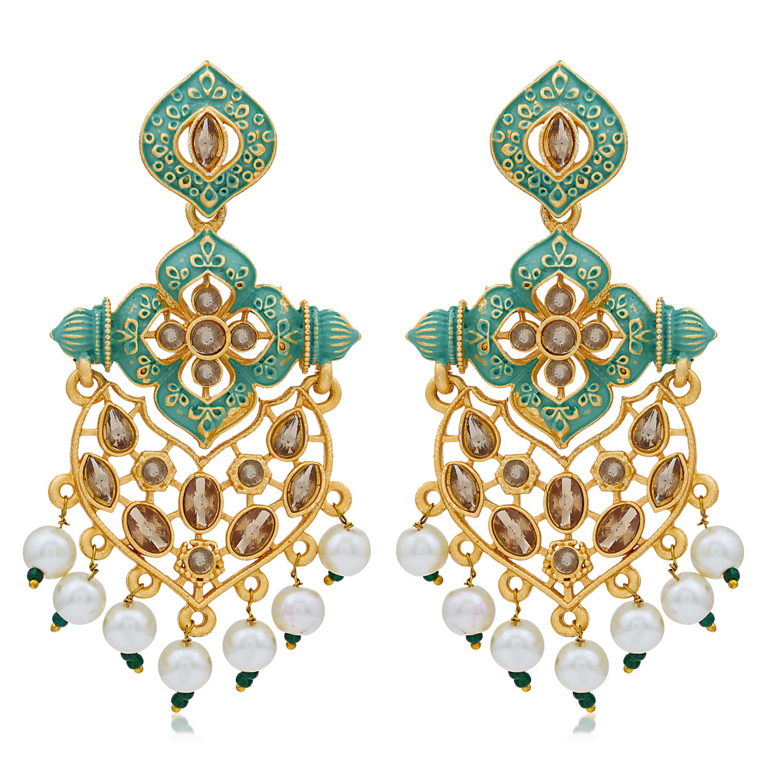 SUKKHI   Sukkhi Glorious LCT Gold Plated Mint Collection Pearl Dangle Earring For Women