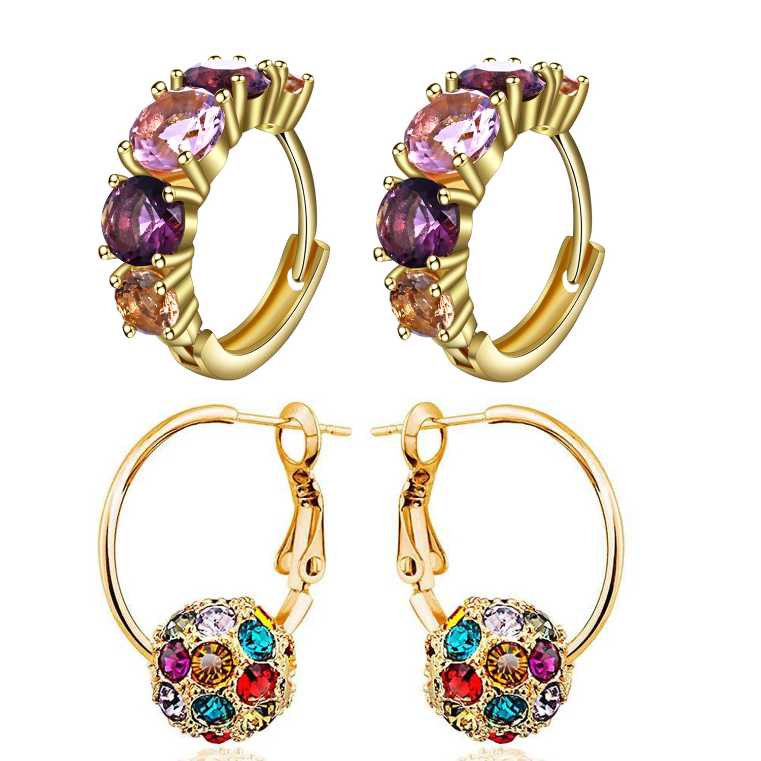 SUKKHI   Sukkhi Astonish Gold Plated Crystals from Swarovski Clip-On Earring Combo For Women