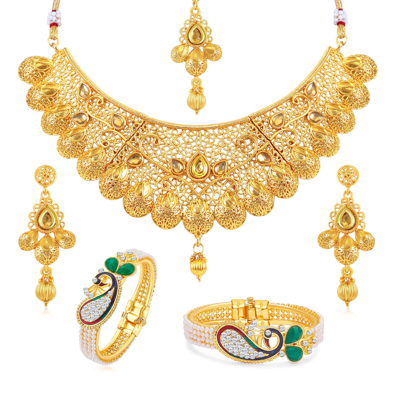 SUKKHI | Sukkhi Ethnic Gold Plated Pearl Peacock Meenakari Kada + LCT Choker Necklace Combo for Women