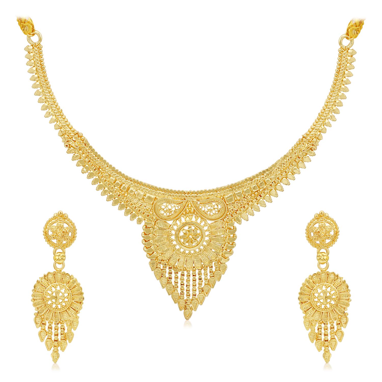 SUKKHI   Sukkhi Lovely 24 Carat Gold Plated Choker Necklace Set for Women