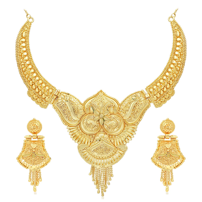 SUKKHI | Sukkhi Pretty 24 Carat Gold Plated Choker Necklace Set for Women