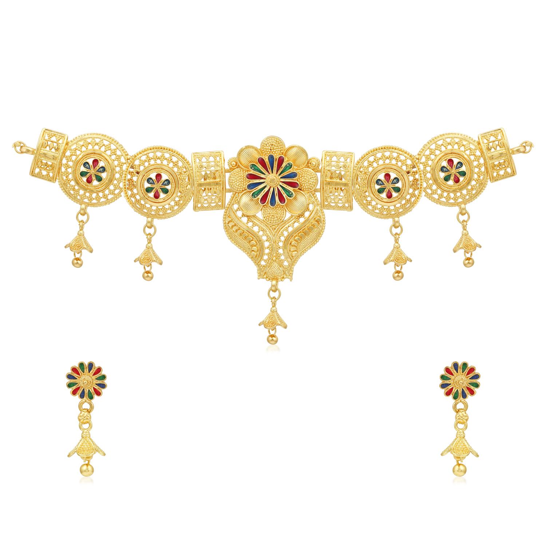 SUKKHI | Sukkhi Amazing 24 Carat Gold Plated Floral Meenakari Choker Necklace Set for Women