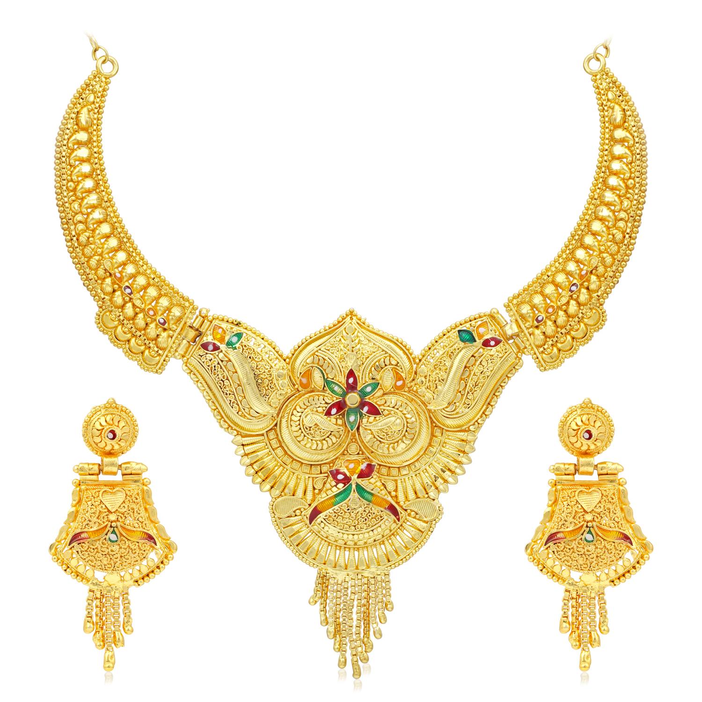 SUKKHI | Sukkhi Ethnic 24 Carat Gold Plated Floral Meenakari Choker Necklace Set for Women