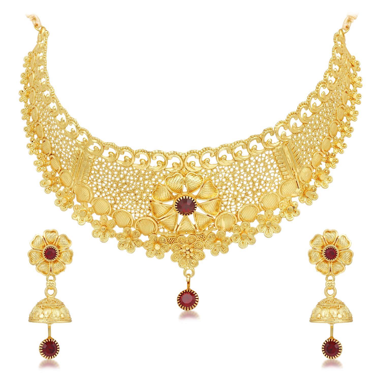 SUKKHI | Sukkhi Floral 24 Carat Gold Plated Choker Necklace Set for Women