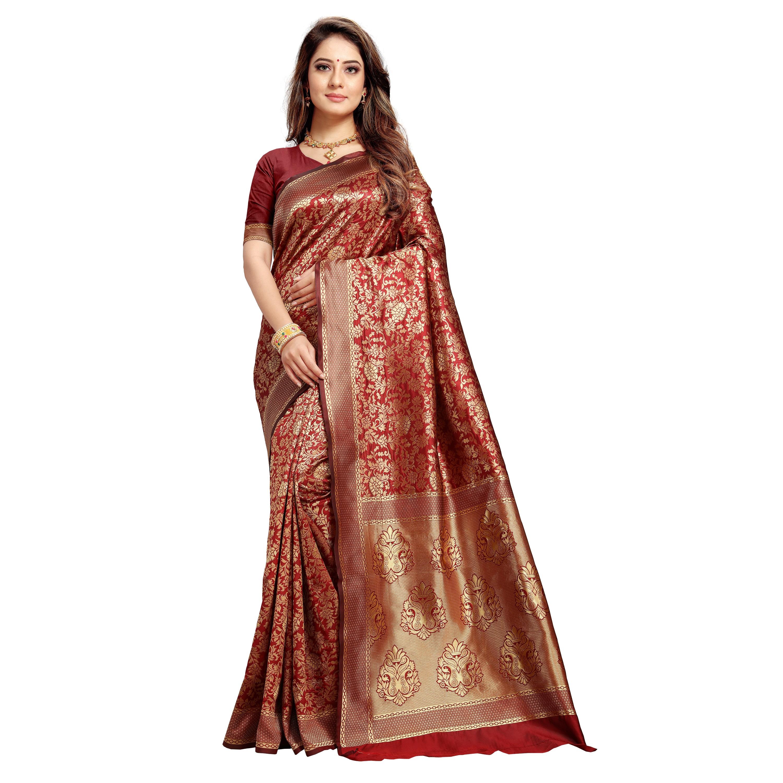 POONAM TEXTILE | Latest Banarasi Silk Maroon Saree For Reception