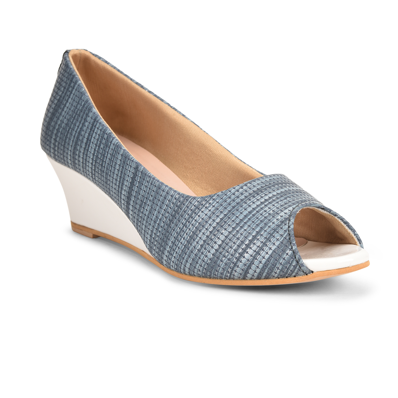SALARIO | Salario Textured Peep-Toe Wedges