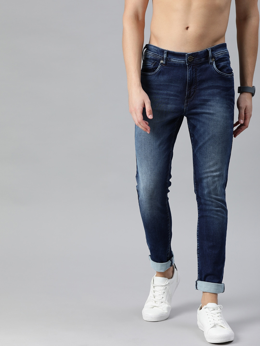 The Bear House | Men Blue Tapered Slim Fit Mid-Rise Clean Look Stretchable Jeans