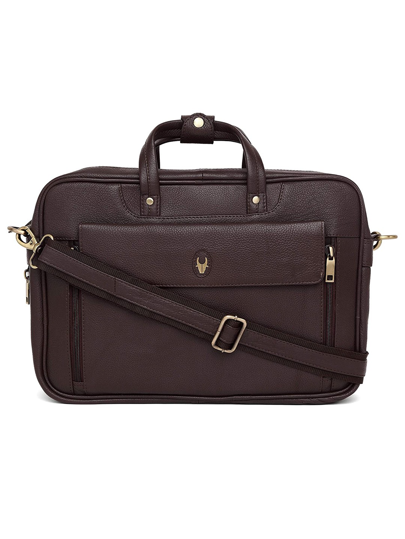 WildHorn | WildHorn 100% Genuine Leather Brown Laptop Bag for Men