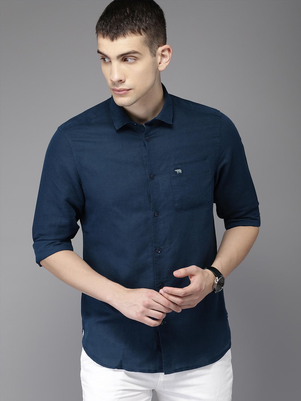 The Bear House | Blue Cotton-Linen Summer Shirt