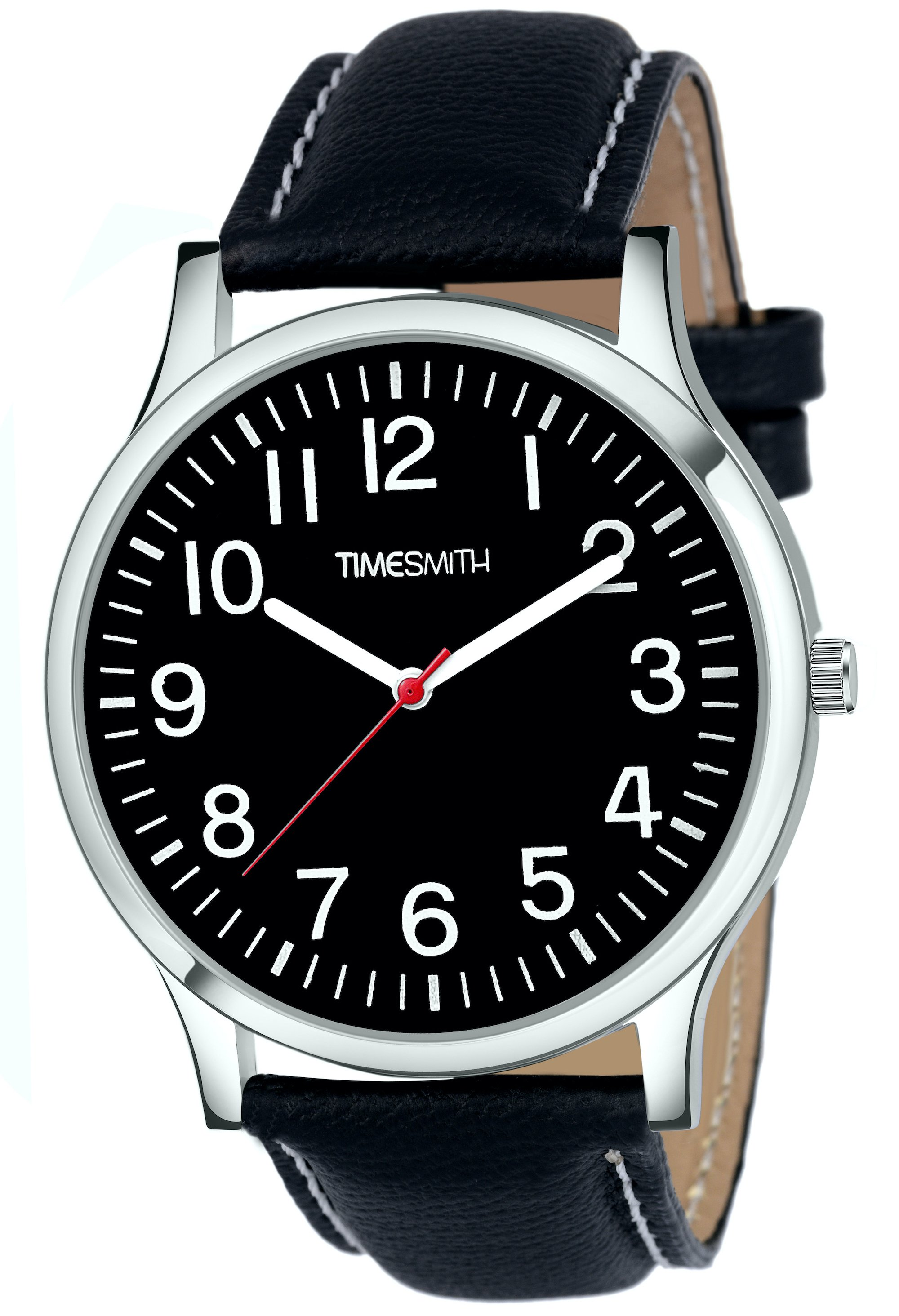 Timesmith | Timesmith Black Leather Black Dial Watch For Men CTC-010 For Men