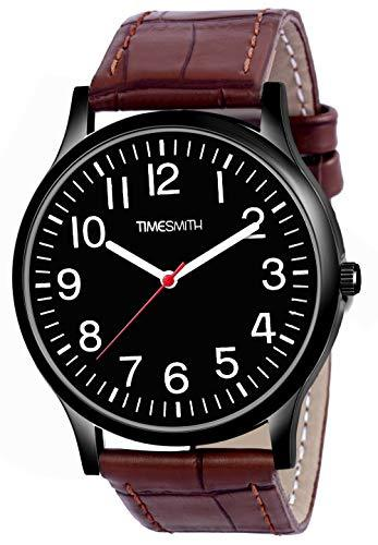 Timesmith | Timesmith Brown Leather Black Dial Watch For Men CTC-011 For Men