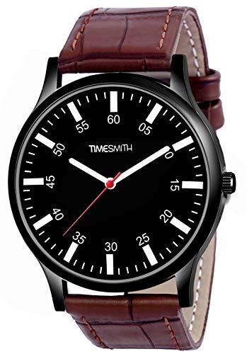 Timesmith | Timesmith Brown Leather Black Dial Watch For Men CTC-012 For Men