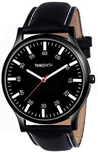 Timesmith | Timesmith Black Leather Black Dial Watch For Men CTC-014 For Men