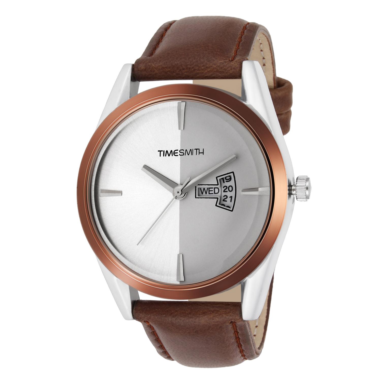 Timesmith | Timesmith White Dial Brown Leather Strap Genuine TSC-015mtn