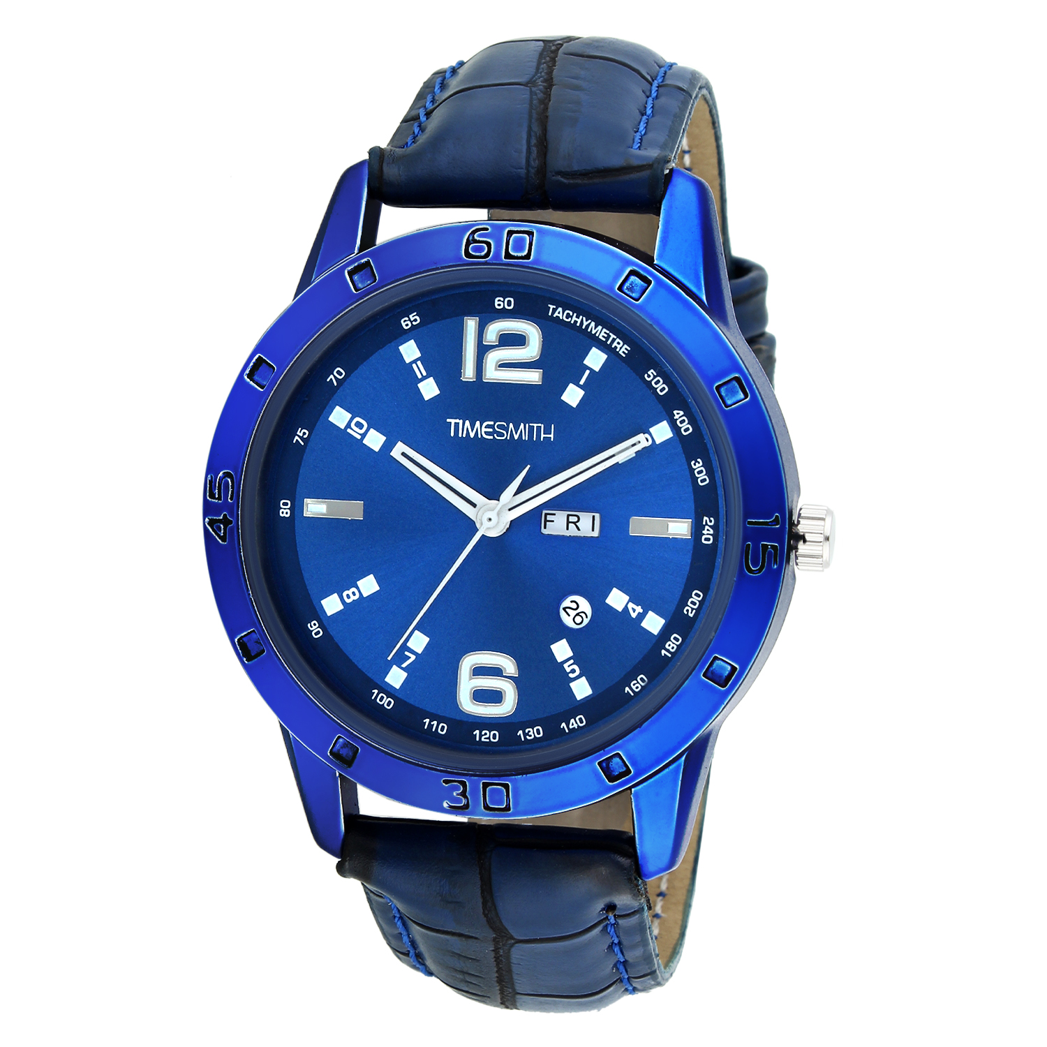 Timesmith   Timesmith Blue Dial Blue Leather Analog Watch for Men TSC-034hy