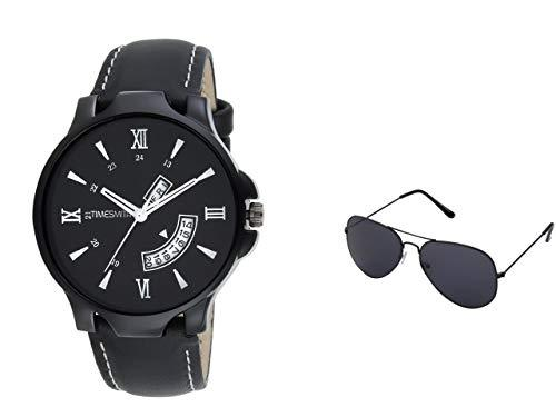 Timesmith   Timesmith Men Black Analogue Watch With A Free Aviator Sunglasses TSC-038-WMG-002 Black Onesize For Men