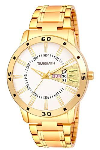 Timesmith | Timesmith Gold Steel Day Date Watch for Men TSC-112 For Men