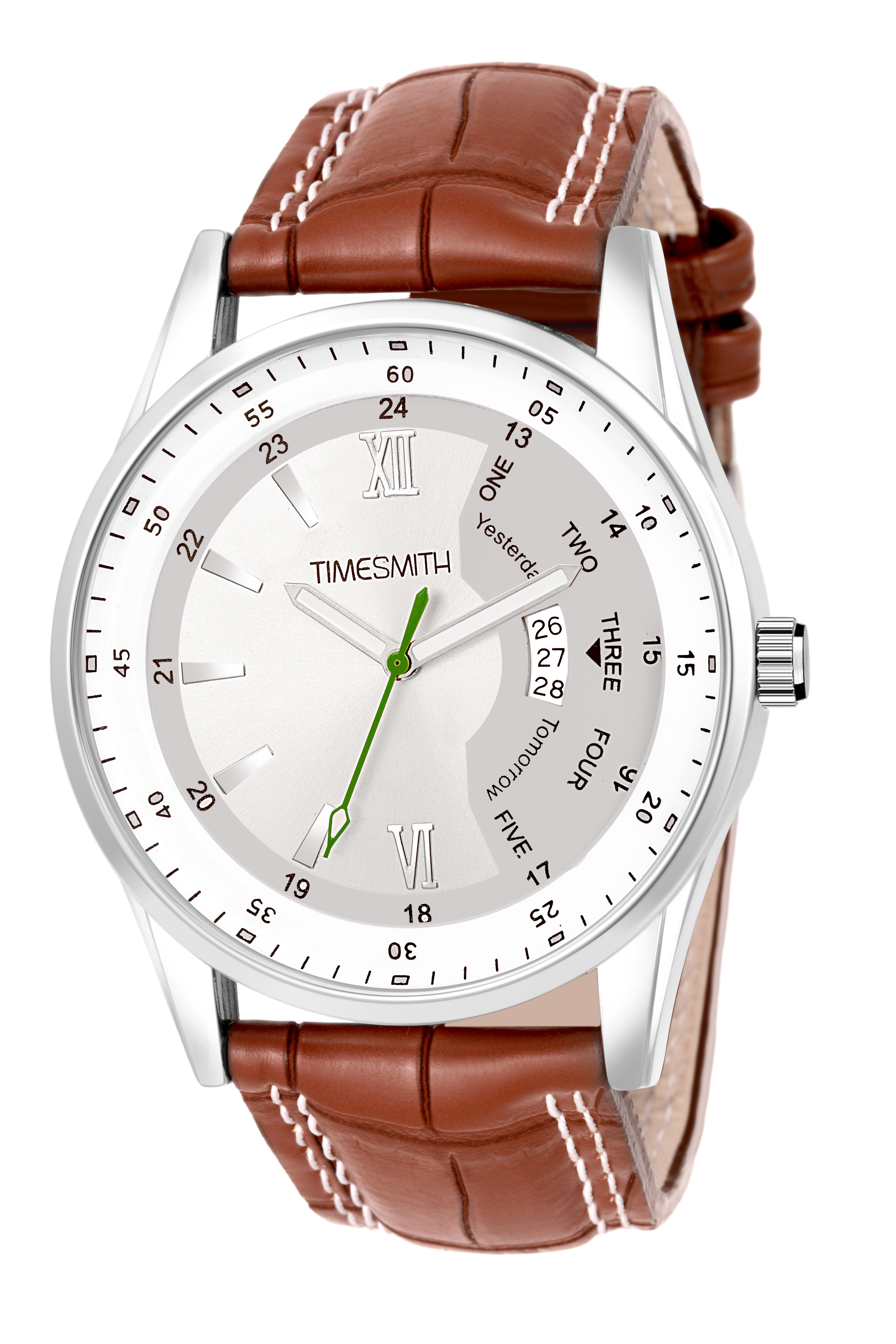 Timesmith   Timesmith White Dial Brown Leather Strap Day Date Men's Watch TSC-126 For Men