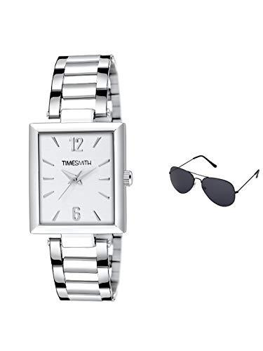 Timesmith | Timesmith Silver Stainless Steel White Dial Watch For Men with Free Sunglasses TSC-135-wmg-002 For Men