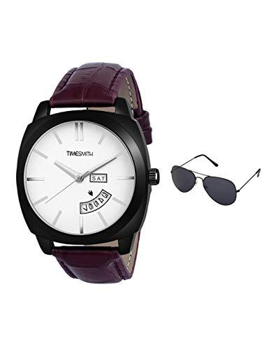Timesmith | Timesmith Day Date Brown Leather White Dial Watch For Men with Free Sunglasses TSC-140-wmg-002 For Men