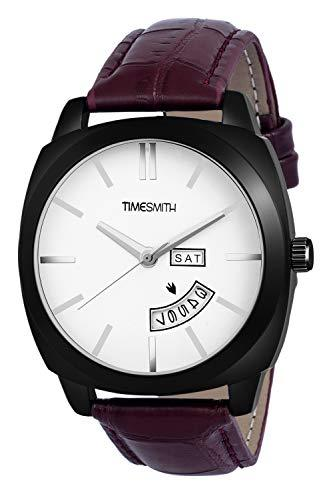 Timesmith | Timesmith Day Date Brown Leather White Dial Watch For Men TSC-140 For Men