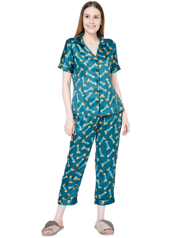 Smarty Pants   Smarty Pants women's silk satin bottle green color giraffe print night suit