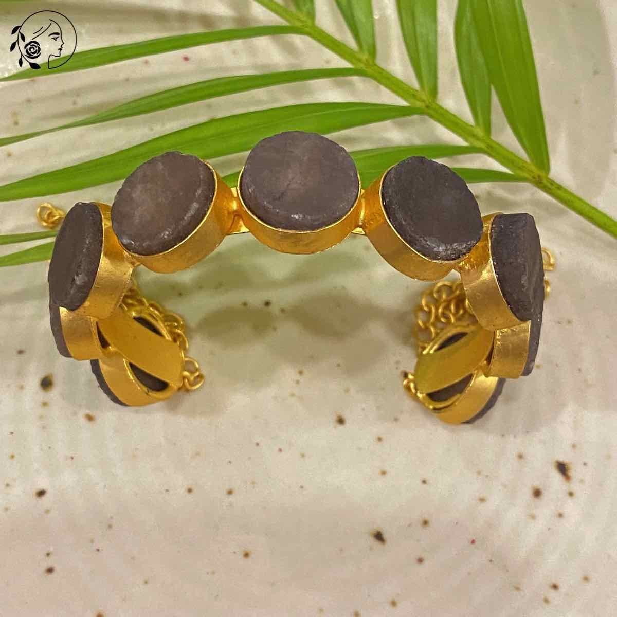 Swabhimann Jwellery | Swabhimann Pimpora Druzy Bracelet with Purple Stones Adjustable
