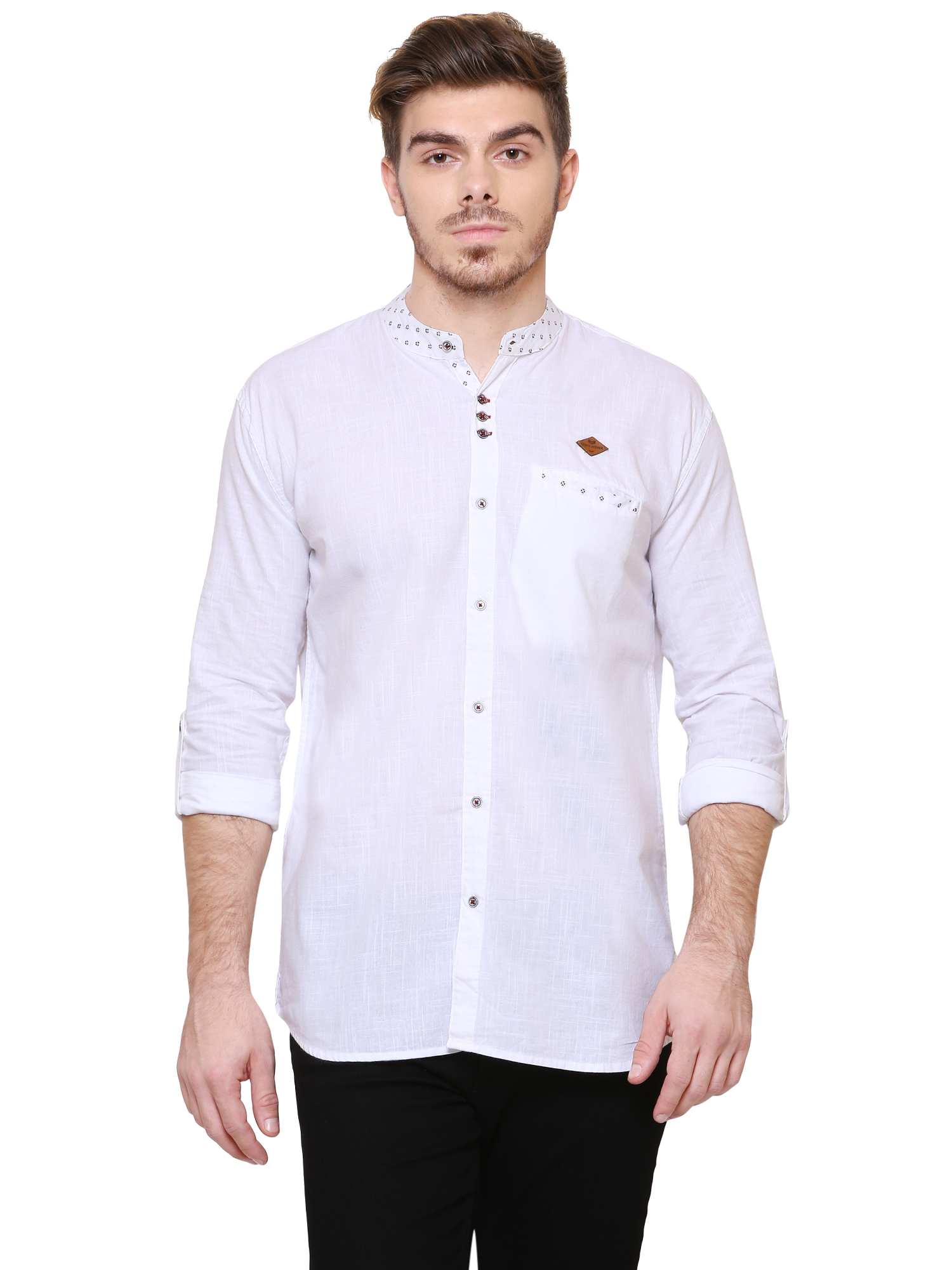 Kuons Avenue | Kuons Avenue Men's White Linen Cotton Shirt- KACLFS1167WH