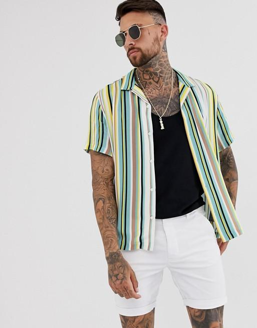 Hemsters | Hemsters Green White Stripe Half Sleeve Shirt