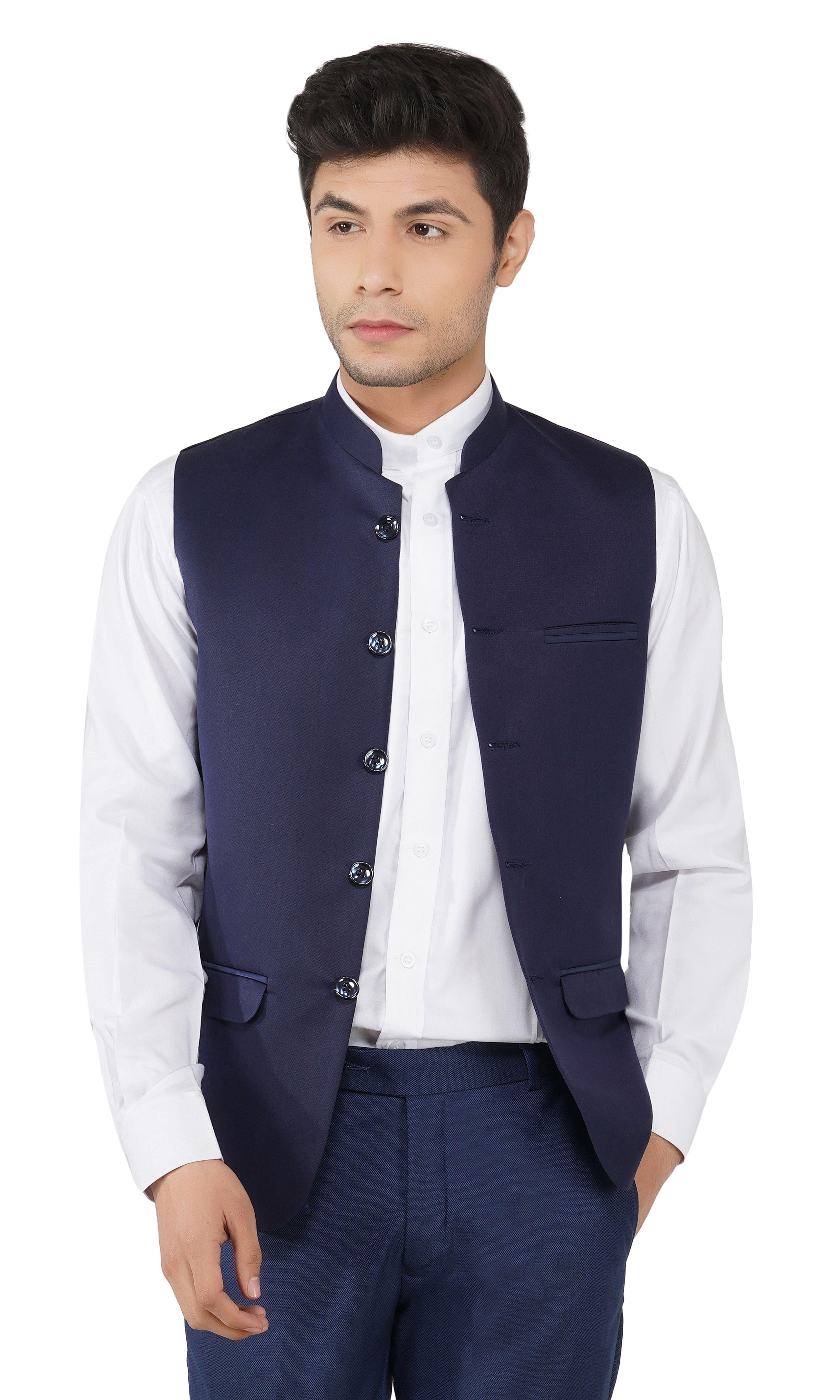 TAHVO | Blue Nehru Jacket For Men