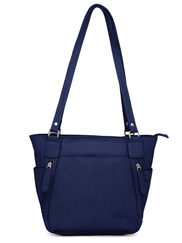 WildHorn    WildHorn Upper Grain Genuine Leather Ladies Tote, Shoulder, Hand Bag - Blue