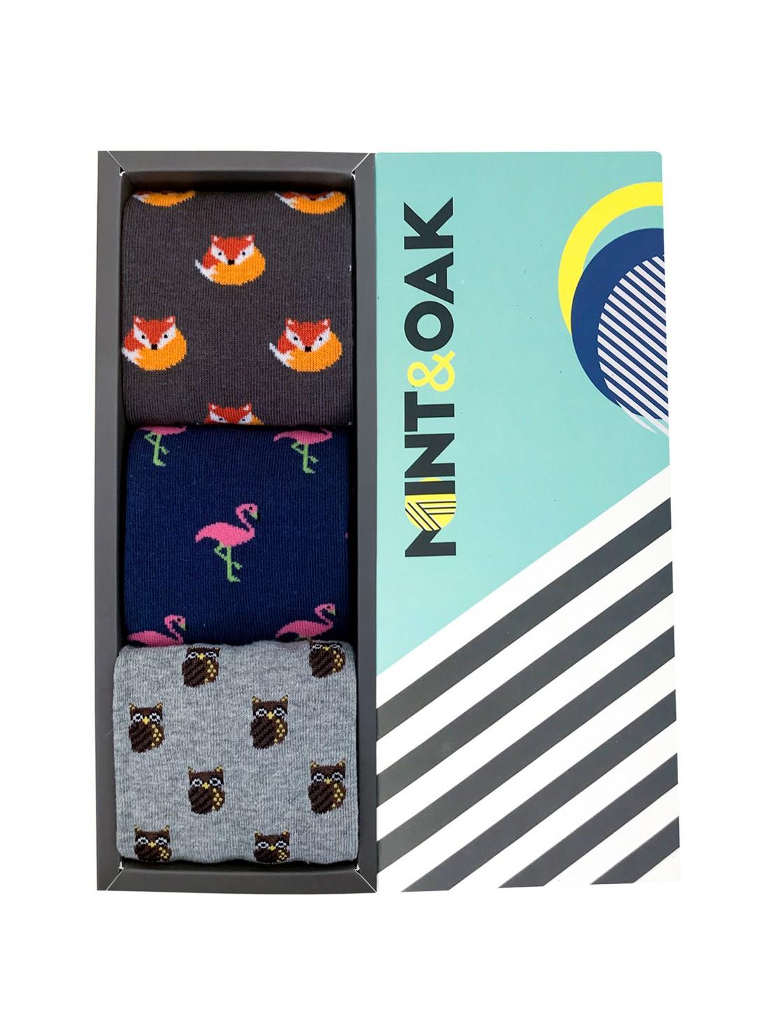 Mint & Oak   Mint & Oak Fox In A Box Calf Length Socks for Men - Pack of 3