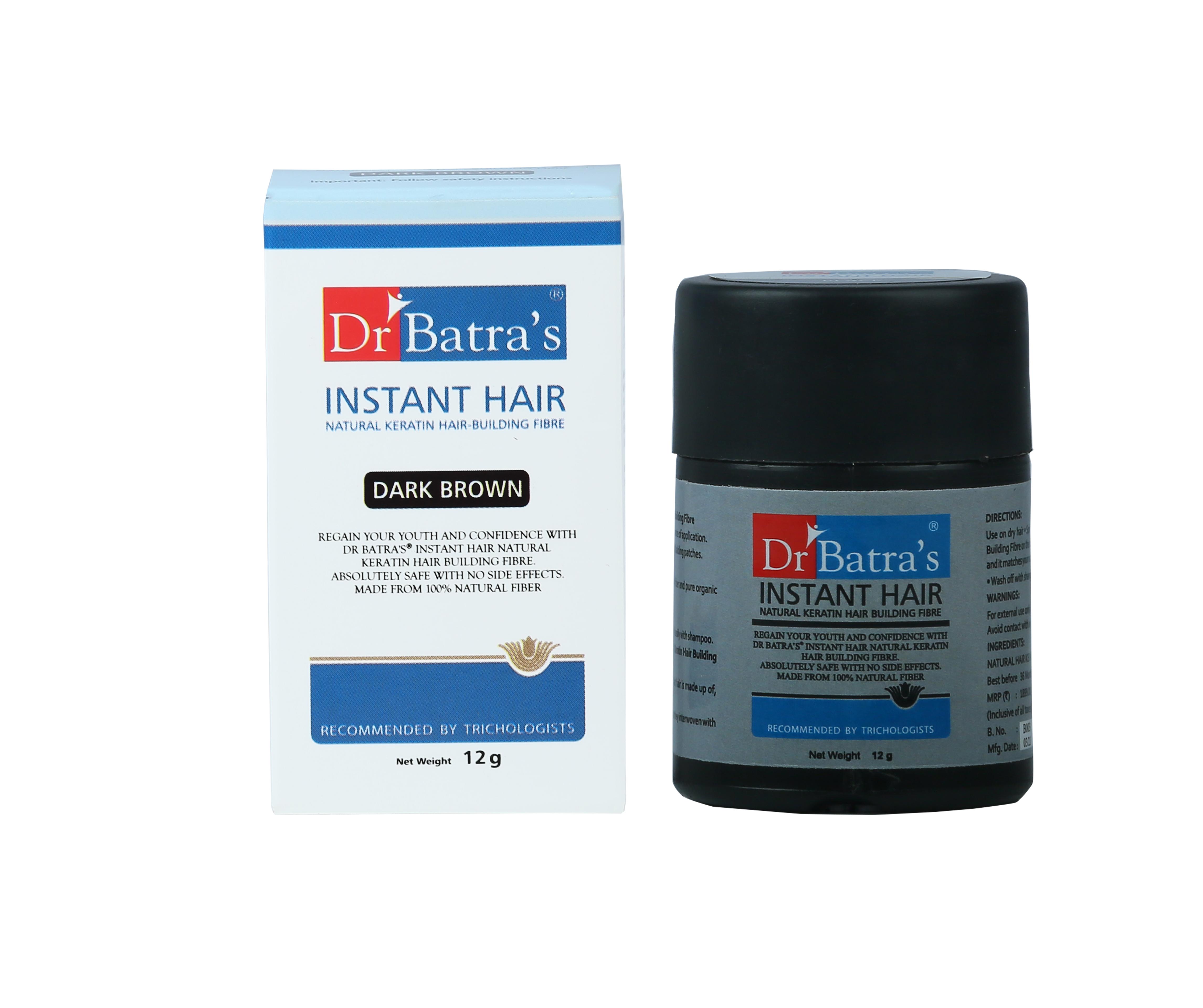 Dr Batra's | Dr Batra's Instant Hair Natural keratin Hair Building Fibre Dark Brown - 12 gm