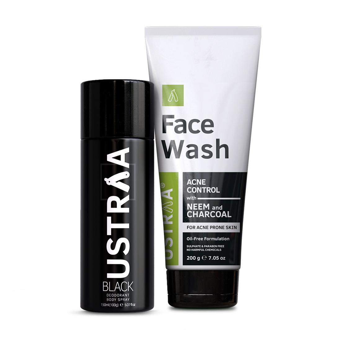 Ustraa | Ustraa Black Deodorant 150ml & Face Wash Neem and Charcoal 200g