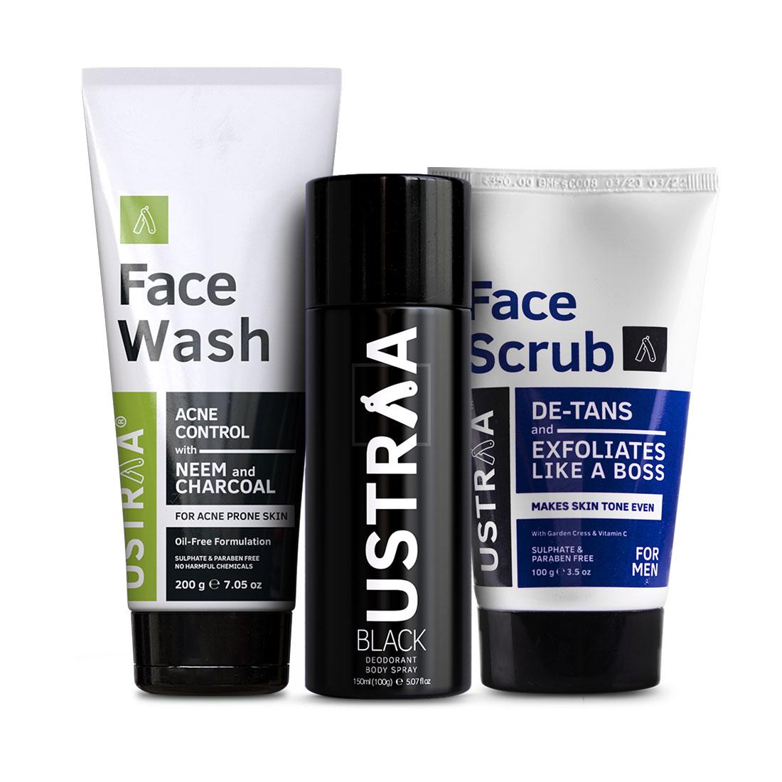 Ustraa | Ustraa Black Deodorant 150ml, De-tan Face Scrub 100g & Face Wash Neem and Charcoal 200g