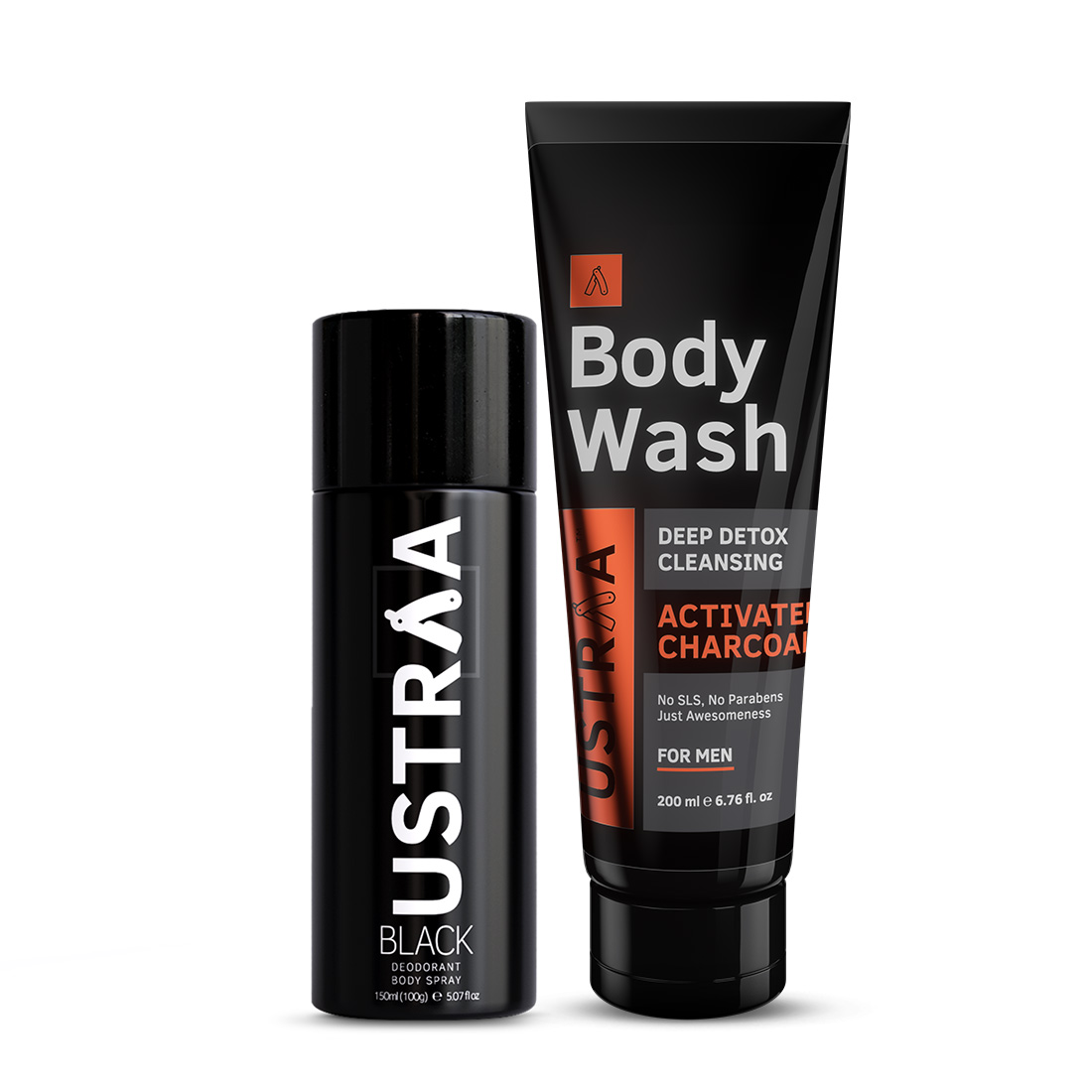 Ustraa | Ustraa Black Deodorant 150ml & Body Wash Activated Charcoal 200g