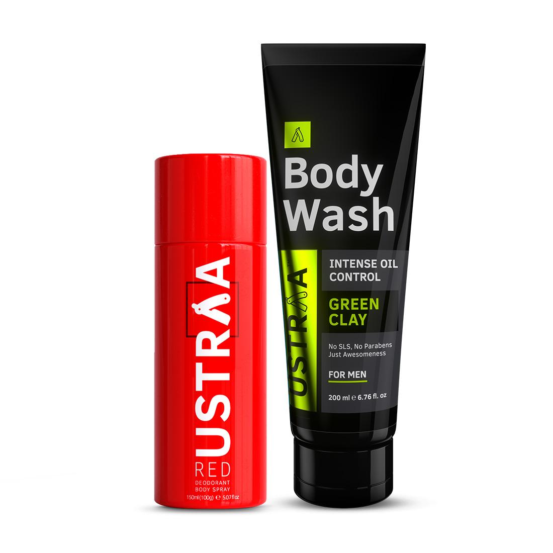 Ustraa | Ustraa Red Deodorant 150ml & Body Wash Green Clay 200g