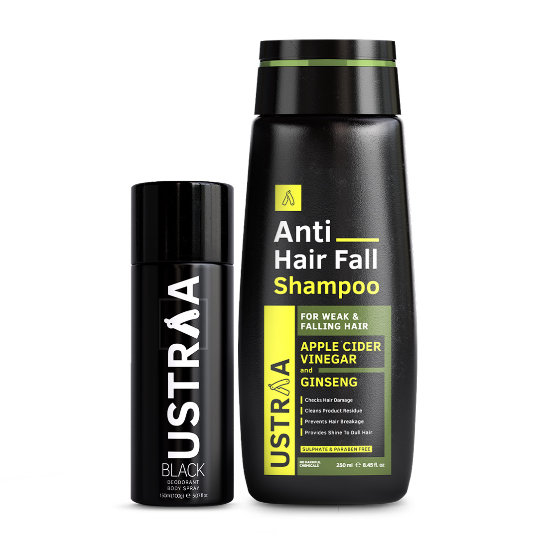 Ustraa | Ustraa Black Deodorant 150ml & Anti- Hair fall Shampoo 250ml