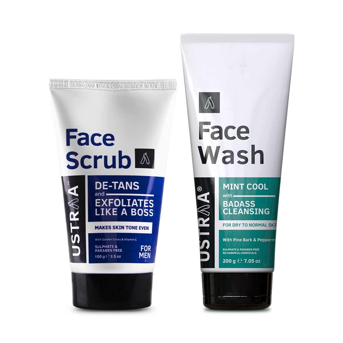 Ustraa | Ustraa Face Wash Dry Skin 200 g & Face Scrub De-Tan 100 g