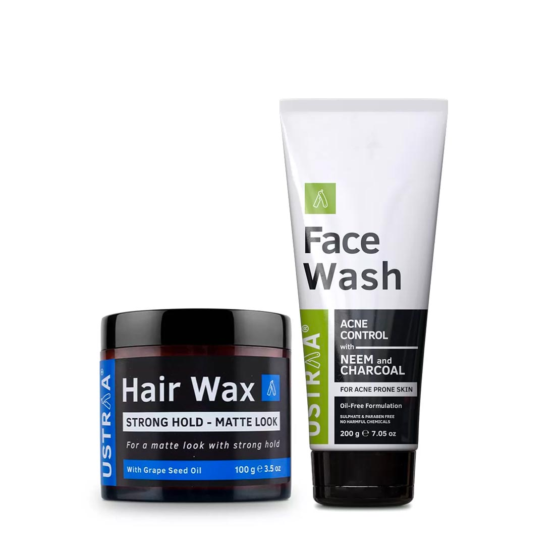 Ustraa | Ustraa Hair Wax - Matte Look 100 g & Face Wash (Neem & Charcoal)200g
